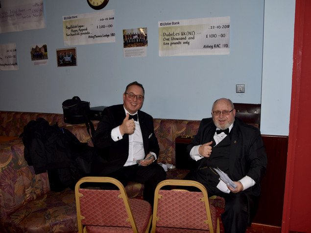 Bro. Hugh Blair, Steward of Charities and W.Bro. Ian Eachus counting the Charity donations.