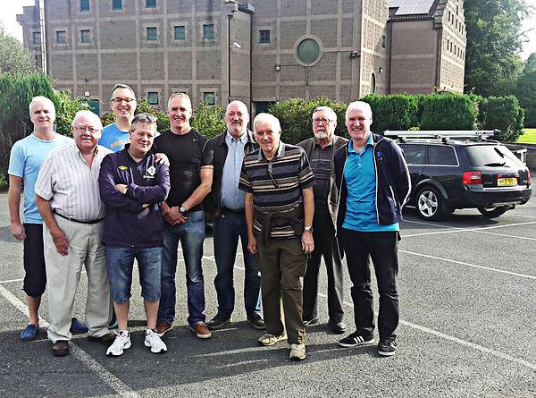 W. Bro. Gary Spiers, W. Bro. Frank McNeice, W. Master Terry Moore, Bro. Eddie Spiers, W. Bro. Jackie Bennett, W. Bro. Jim Lyttle, W. Bro. Denis Rowland and W. Bro. Bobby Spiers
