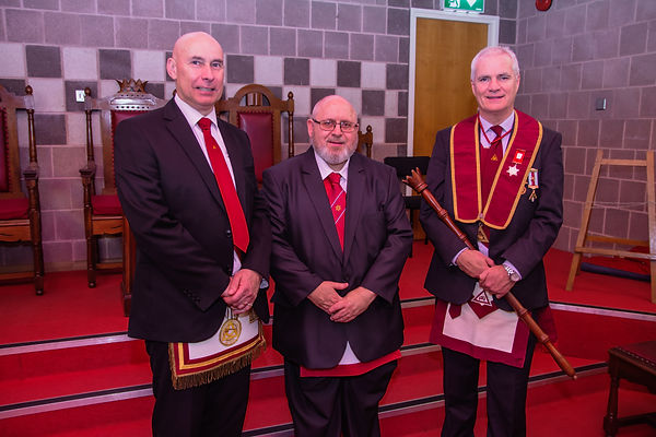 Excellent King, Gary Spiers welcomes Companion Hugh Blair to Abbey 180 Chapter after receiving an excellent Royal Arch Degree from V.E.Comp. Simon Lusty.