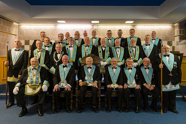 Worshipful Master, Neil Ritchie accompanied by R.W. Bro. Jim McFarland, Secretary of the Grand Lodge of Instruction, R.W. Bro. Bobby Spiers, Elected member Grand Lodge of Instruction, Provincial Officers and Officers of Abbey 180.