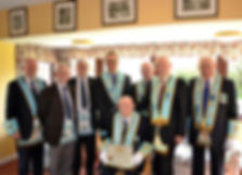 V. Wor. Bro. Sidney Vokes, Abbey Masonic Lodge 180, accompanied by Brethren of the Lodge at his 50 year presentation ceremony.