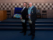 W.Bro. George Burnside who was deputising for the Worshipful Master, W.Bro. Lee Burnside presents W.Bro.  Stevie Bell with his Provincial Regalia.  W. Bro. Bell will be invested as Provincial Grand Senior Warden at the Provincial Grand Lodge of Antrim's Stated Communication on the 23rd February.