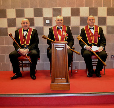 Abbey Royal Arch Chapter 180 2015: E.K. Freddie Hoy accompanied by C.S. Comp. Robert Lenaghan and H.P. Comp. Stephen Houston.