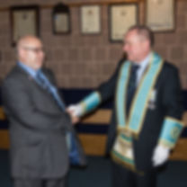 P.P.G.S.John McIlwaine congratulates Bro. Hugh Blair after receiving his 3rd Degree.