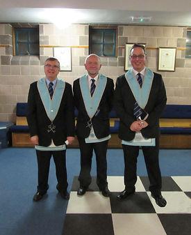 W.Bro. Jim Porter, Treasurer, W.Bro. Alan Hunter, Director of Cermonies and W.Bro. Ian Eachus, Secretary.