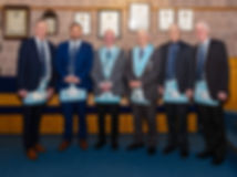 Worshipful Master  Lee Burnside accompanied by the Lodges newly raised Master Mason, Bro Gareth Moody, W.Bro. Ed Spiers, R.Wor. Bro. Bobby Spiers, W.Bro. Gary Spiers and W.Bro. Bobby Spiers ( Jnr.)