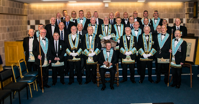 Worshipful Master accompanied by Provincial Officers and brethren after his Installation