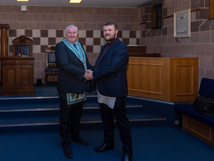 W.Bro. George Burnside congratulating Abbey 180's latest Entered Apprentice, Bro. Jamie Linton