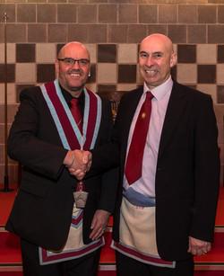 V.W.M.Robert Lenaghan with Installing Officer, bro