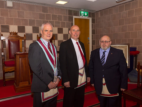 V.W.M. Gary Spiers welcomes Bro Hugh Blair to the Abbey 180 Mark Master Lodge. The degree was delivered in an exemplary manner by Bro. Simon Lusty..
