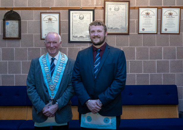 Worshipful Master, W.Bro. Lee Burnside accompanied by Bro. Linton who had received his M.M Degree at the Emergency Communication.
