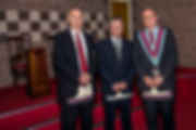 V.W.M Robert Lenaghan accompanied by Bro. Terry Moore andBro. Simon Lusty who delivered an excellent Mark Master Mason degree.