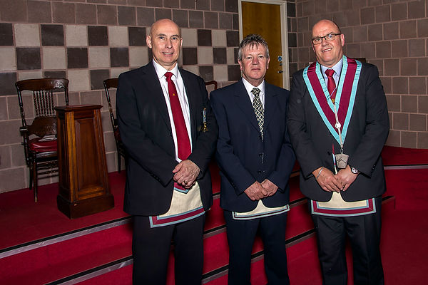 V.W.M Robert Lenaghan accompanied by Bro. Terry Moore and Bro. Simon Lusty who delivered an excellent Mark Master Mason degree.