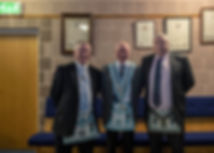 Worshipful Master Lee Burnside accompanied by , W.Bro. Richard Burnside and  W.Bro. George Burnside.