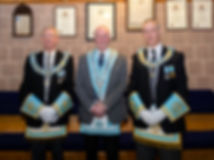 Worshipful Master  Lee Burnside welcomes Provincial Deputy Grand Master R.W. Bro. Kenneth Doherty and Provincial Assistant Grand Master R.W. Bro. Grahame Harper of Londonderry and Donegal to Abbey Lodge 180.