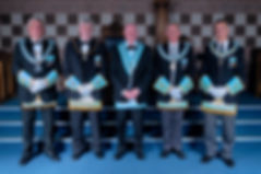 Worshipful Master, W.Bro. Lee Burnside accompanied by the Deputy Grand Master, R.W.Bro. Rodney L. McCurley,  Provincial Grand Master of Antrim, R.W. Bro. J. McLernon,  Provincial Deputy Grand Master of Londonderry and Donegal, R.W.Bro. Kenneth Doherty, Provincial Assistant Grand Master of Londonderry and Donegal, R.W.Bro. Grahame Harper, Wardens, and Officers of the Lodge.