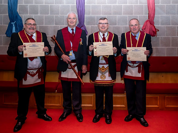 Excellent King, Gary Spiers pictured with E.Comp. Trevor Wilson,  V.E. Comp. Jim Porter and E.Comp. John McIlwaine who had just received their 25 Year Jewels and Certificates.