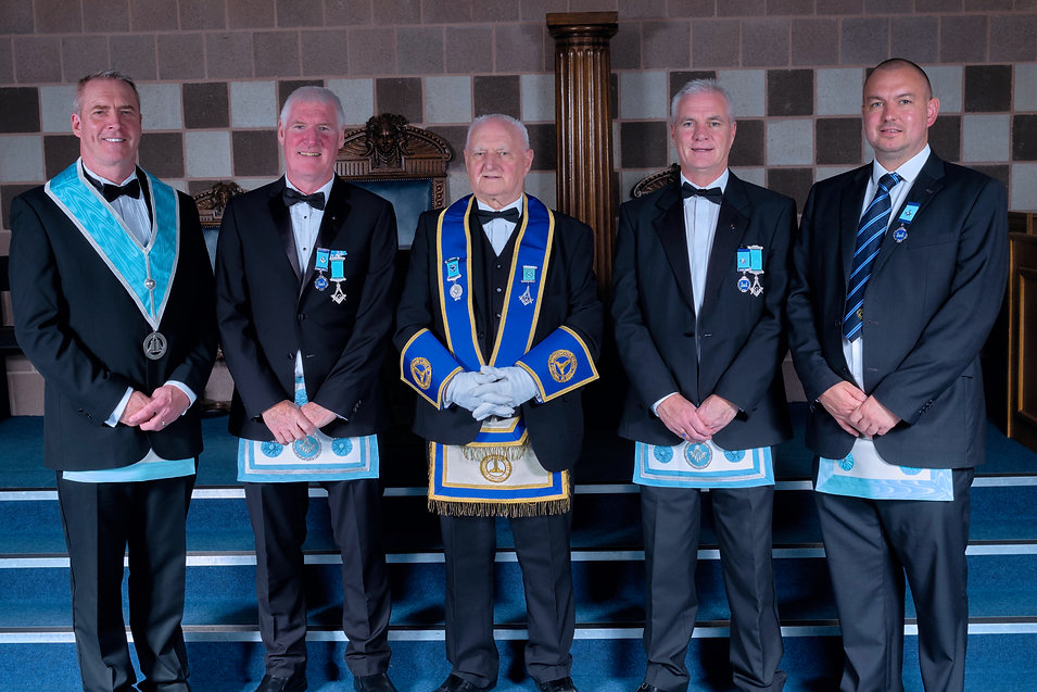 R.W.Bro. Bobby Spiers accompanied by his sons,  W.Bro. Ed Spiers, W.Bro. Bobby Spiers, W.Bro. Gary Spiers and Bro. Gareth Moody