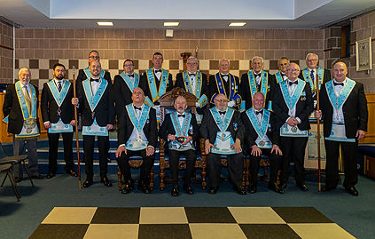 Worshipful Master,W.Bro. Joe Corr, accompanied by his Wardens,Officers and Officers from Grand Lodge and Provincial Grand Lodge