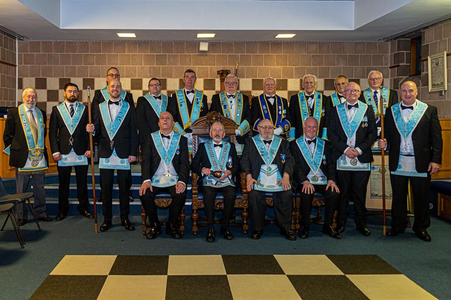 Front Row : Bro. Davy Thompson, Bro. Stephen Lee, Worshipful Master, W.Bro. Joe Corr,  Bro. Hugh Blair, W.Bro. Lee Burnside, W.Bro. Alan Hunter, Bro. Mark Stockard.  Back Row: V.W.Bro. Bill McClenaghan, Bro. Kyle McDowell, W.Bro. Ian Eachus, Bro. Marshall Duncan, V.W.Bro. Stephen Bell, W.Bro. Foster Clyde, R.W.Bro. Bobby Spiers, R.W.Bro. Neil Ritchie,  W.Bro. Tom Weir, W.Bro. David Ewart.