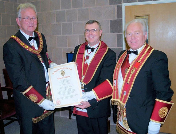 Excellent King E.Comp. Jim Porter is presented with the first Royal Arch Centenary Certificate by the District Assistant Grand King. R.E. Comp. Wendell McGrath and the District Grand Registrar, R.E.Comp Jim Lynch