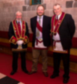 Past District Grand Standard Bearer, V.E.Comp Bill McClenaghan, Comp. Mark Wilson (Sidon 275) and  E.C. Freddie Hoy.