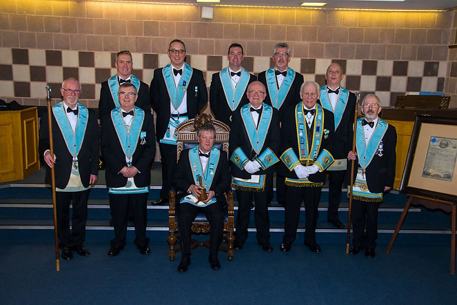 Worshipful Master Terry Moore, accompanied by his Officers of