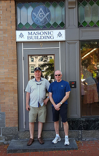 Brothers Michael McMeekin and Lee Burnside pictured outside the Masonic Hall Gettysburg Pennsylvania