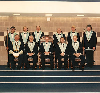 W.Bro. Bert Gault's Installation in Abbey Masonic Lodge 180 in 1990, accompanied by his Wardens and Officers.