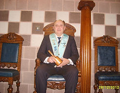 """Worshipful Master Stephen Houston, Abbey Masonic Lodge 180, pictured in the """"chair"""" after his installation."""