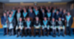 Worshipful Master, W.Bro. Lee Burnside accompanied by the Deputy Grand Master, R.W.Bro. Rodney L. McCurley,  Provincial Grand Master of Antrim, R.W. Bro. J. McLernon,  Provincial Deputy Grand Master of Londonderry and Donegal, R.W.Bro Kenneth Doherty, Provincial Assistant Grand Master of Londonderry and Donegal, R.W.Bro. Grahame Harper, Wardens, Officers and Brethren of the Lodge.