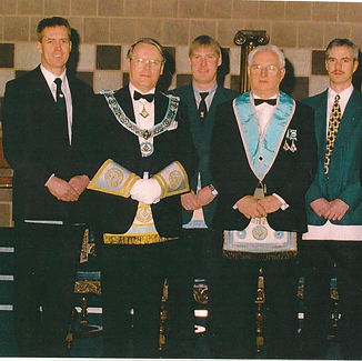Wor. Bro. Bobby Spiers accompanied by R. Wor. Bro. Robert Thompson PGM and his three sons,Bro. Eddie Spiers, Bro. Bobby Spiers and Bro. Gary Spiers.