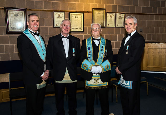 V.Wor. Bobby Spiers accompanied by his sons Bro. Eddie Spiers, W. Bro. Bobby Spiers and W. Bro. Gary Spiers.