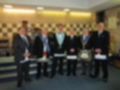 W.M. Stephen Bell with guests, Bro. Matt Ewing (Lodge St. Clair 427), W.Bro. Allan Clarke (Lodge Dura 1513), Bro.Gary Gilfillan (427), W.Bro. Gerry Malone, and Bro.Eric Connor (427).
