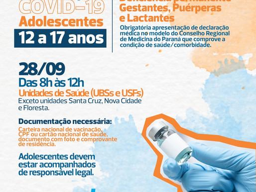 Cascavel antecipa vacina para adolescentes de 12 a 17 anos com comorbidade