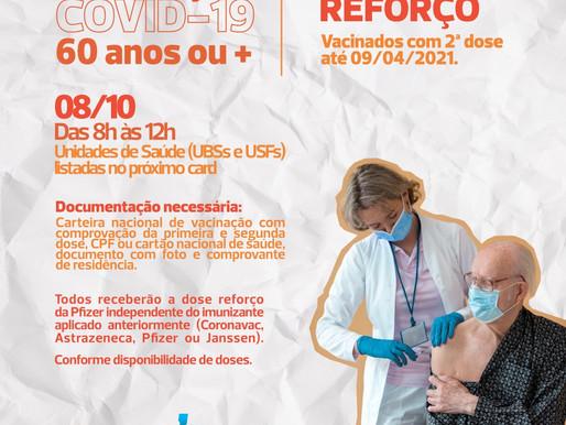 Dose reforço: Saúde vacina público de 60 anos ou mais nesta sexta-feira