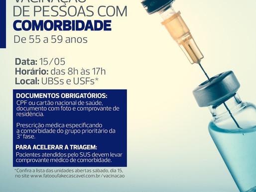 Unidades de saúde abrirão no sábado para vacinar pessoas com comorbidade