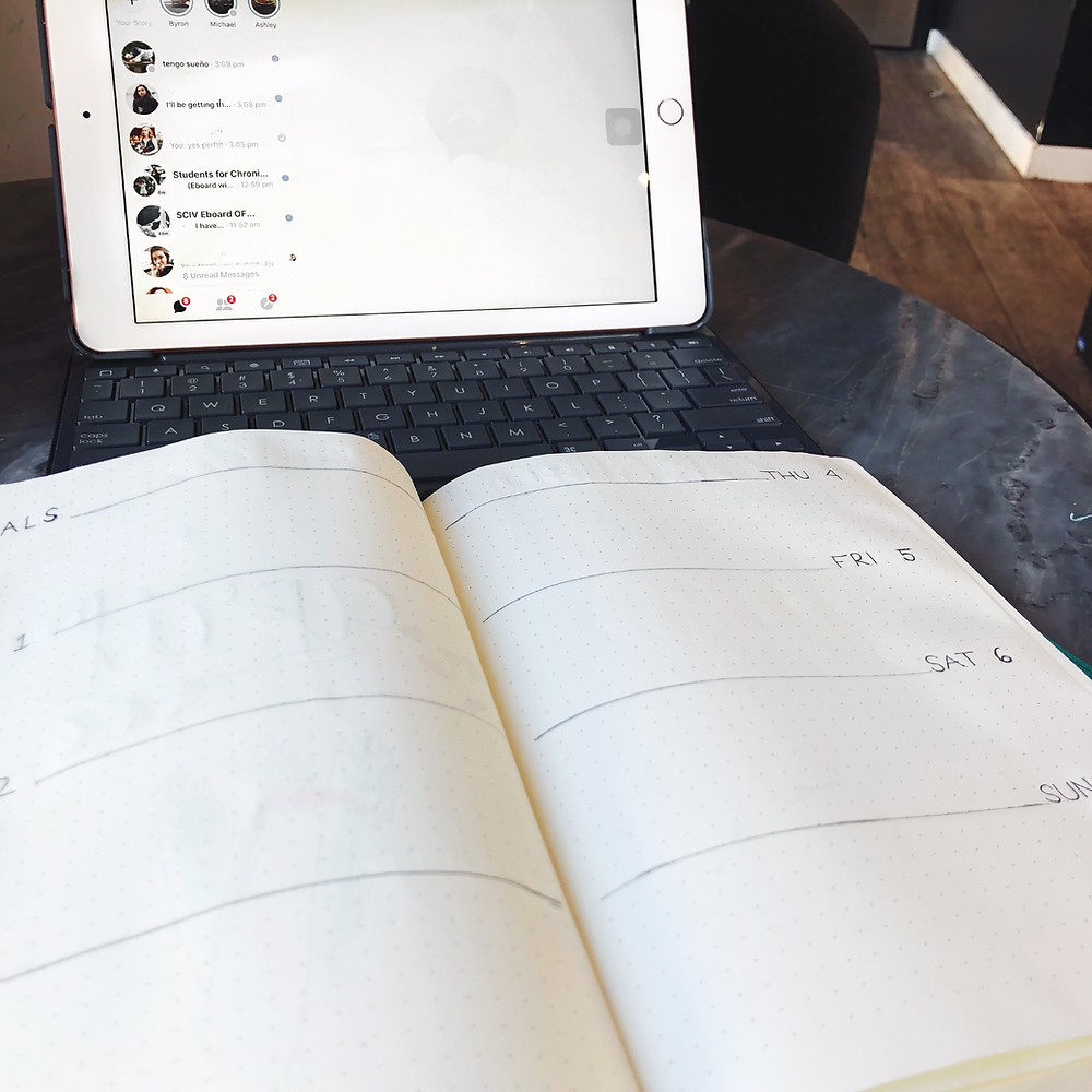 A dotted bullet journal takes up the foreground, with a pre-made minimalist weekly agenda on its pages. Behind it is an iPad with an attached keyboard, purchased with the purpose of being more productive.