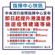 提升港、澳、新加坡及泰國旅遊警告,民眾避免前往、加強防護