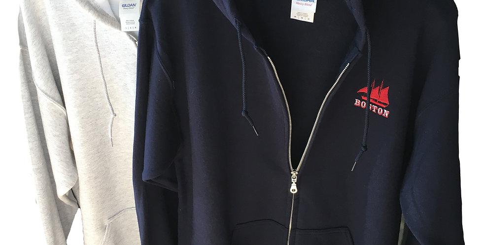 Boston Schooner Zip up Hoodie Sweatshirt