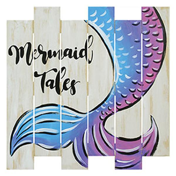 Mermaid Tails on Wood 8/12/21