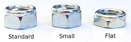 Three sizes of locknuts