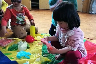 Child learning to play