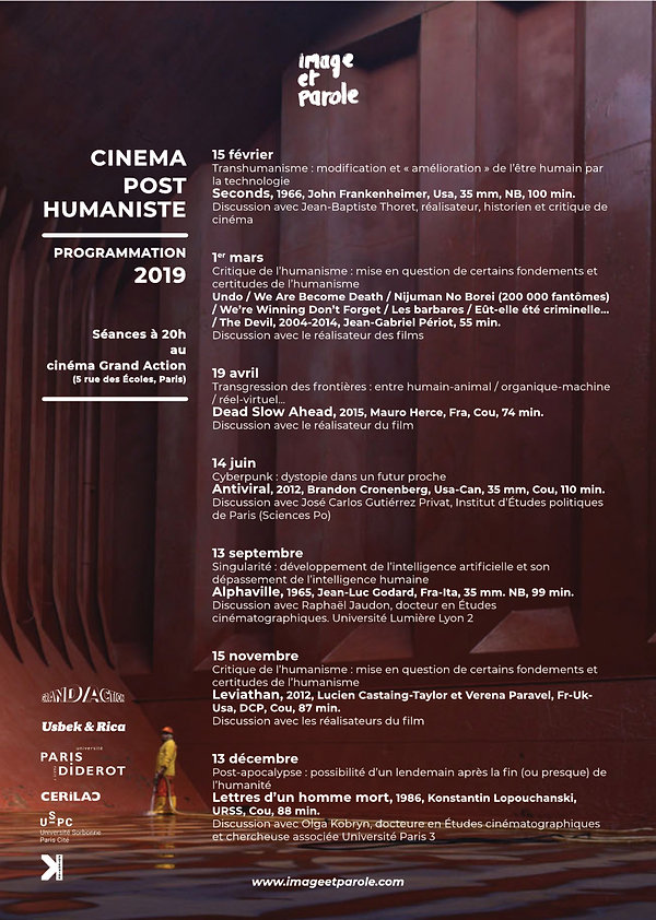 Programmation cinéma posthumaniste