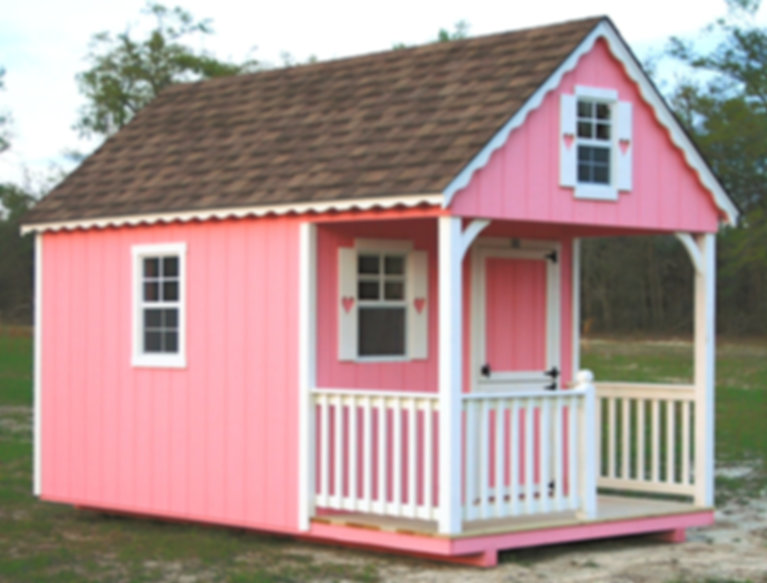 Childs Playhouse 8x14, Pink, White