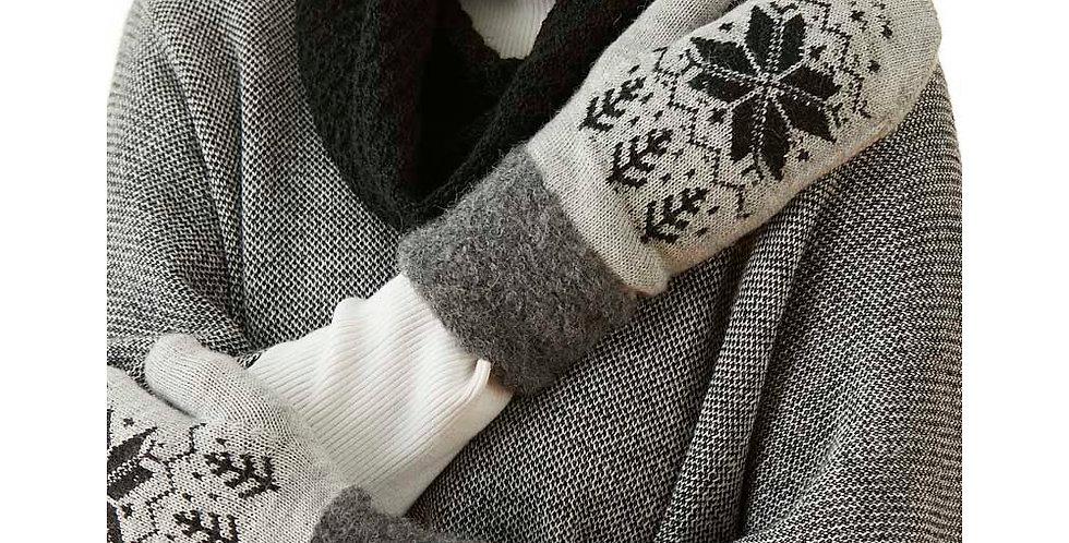 Snowflake Alpaca Mittens - Silver/Charcoal