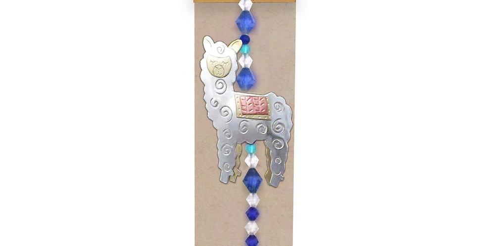 Whimsical Alpaca Suncatcher - lighter blue gem color
