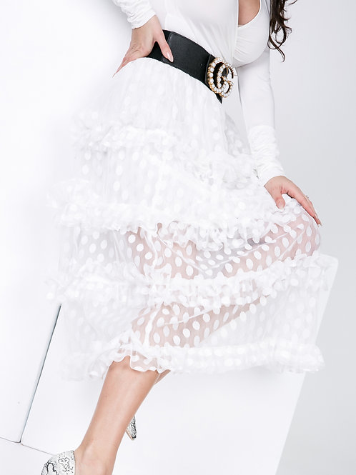 Ladies White Meshed Pokka Dot Skirt