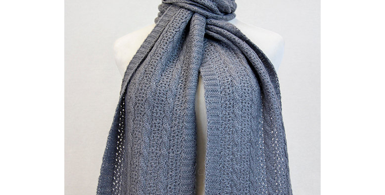 BOLD Cable and Lace Scarf - Slate Grey