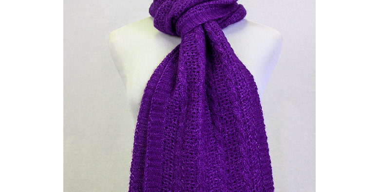 BOLD Cable and Lace Scarf - Royal Purple